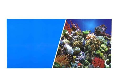 Marina Double Sided Aquarium Background, Reef Aquarium/Solid Royal Blue